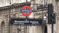 Westminster Underground Station Sign and Traffic Stock Footage