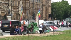 British Protesters outside Parliament Stock Footage