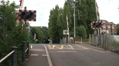 Railway Level Crossing Barriers Close Stock Footage