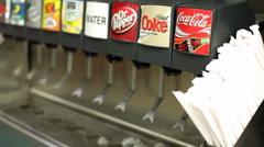 Filling Cup at Coca-Cola Fountain Machine Stock Footage