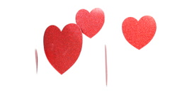 Red Hearts White Background  Stock Footage