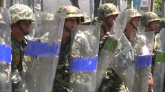 Soldiers with riot shields and clubs. Stock Footage
