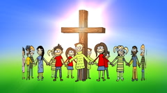Children standing in a circle around the cross Stock Footage
