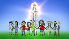 Children standing around a Divine Mother Stock Footage
