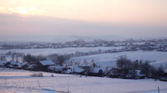 Village in Winter Scene, Landscape in Winter Season, Hills in Snow, Forest Stock Footage