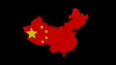 Stock Video Footage of planes departing China map flag animation