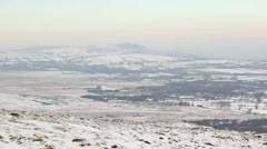 Frigid landscape viewed from Foel Drygan Fort, Wales Stock Footage