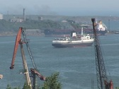 Arrival of the ship in port Stock Footage