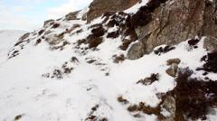Outcrop of Preseli Bluestone at Foel Drygan, Wales Stock Footage