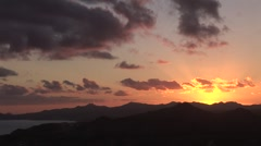 Sunset Over Pastel Bay From Mountains - stock footage