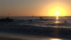 Sunrises Over Waves As Pelicans Fly Near Shore Stock Footage