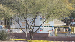 Congresswoman Gabrielle Giffords tragedy crime scene day 2 - pick up shots - 13 Stock Footage