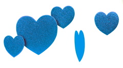 Hearts Blue Hanging White Background  Stock Footage
