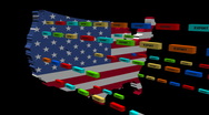 USA map with lines of export containers animation Stock Footage