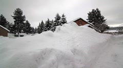 CONDOS BURIED IN SNOW Stock Footage