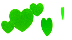 Hearts Green White Background Stock Footage