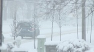 Stock Video Footage of Blizzard Morning Time driving