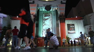 Tourists visit Mann's Chinese Theater at Night Stock Footage