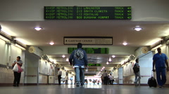 Union Station Los Angeles Travelers arriving and departing on trains - stock footage