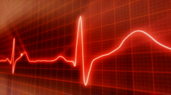 Seamless loop red background EKG electrocardiogram pulse real waveform Stock Footage
