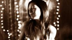 Beautiful girl dance disco lights glam Stock Footage
