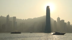 Hong Kong Skyline backlight wiew Stock Footage