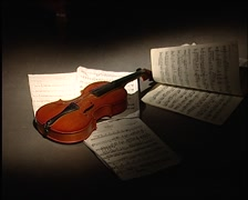 Violin and sheet music Stock Footage