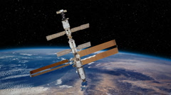 International Space Station above the Earth (solar panels opening) - stock footage
