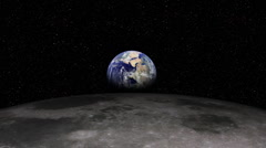 Earth Rising over Moon (Lunar) Landscape - stock footage