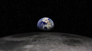 Stock Video Footage of Earth Rising over Moon (Lunar) Landscape