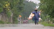 Homeless Man Walking Down The Street Stock Footage