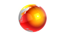 Seamless rotating earth with glossy red surface - stock footage