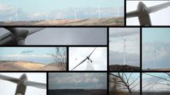 Multiscreen turbines - stock footage