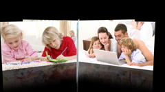 Montage of mutli-ethnic families having fun together Stock Footage