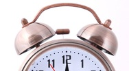 Close-up shot of ringing alarm bell clock Stock Footage
