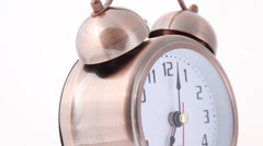close-up shot of rotating and ringing alarm clock - stock footage