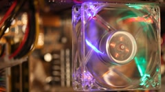Working computer fan with multicolor LED illumination Stock Footage