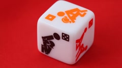 white dice with erotic icons on the sides - stock footage