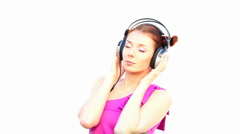 Girl and headphones Stock Footage