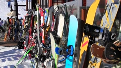 SKIS AND SNOWBOARDS LINED U Stock Footage