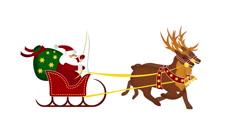 Galloping reindeer with santa on sleigh Stock Footage