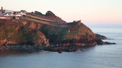 View over Polruan headland, Cornwall in the winter Stock Footage