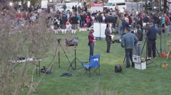 News media at the victim's vigil in Tucson Arizona - 6 Stock Footage