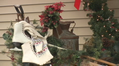 Stock Footage - Holiday/Country Porch - Winter Scene - Ice Skates Stock Footage