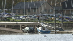 Winching yacht onto trailer at Rutland Water. Stock Footage