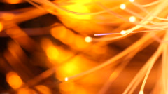 Light transmission through fibre optic cables. Data network. - stock footage