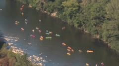 Canoes on Ardeche River, France Stock Footage