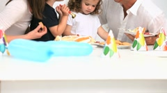 Happy family during a birthday - stock footage