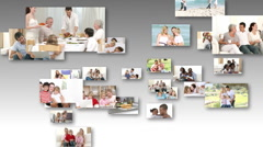Different famlies having fun together Stock Footage