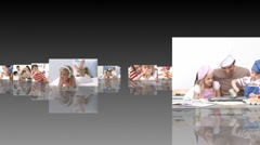 Montage of families celebrating events Stock Footage